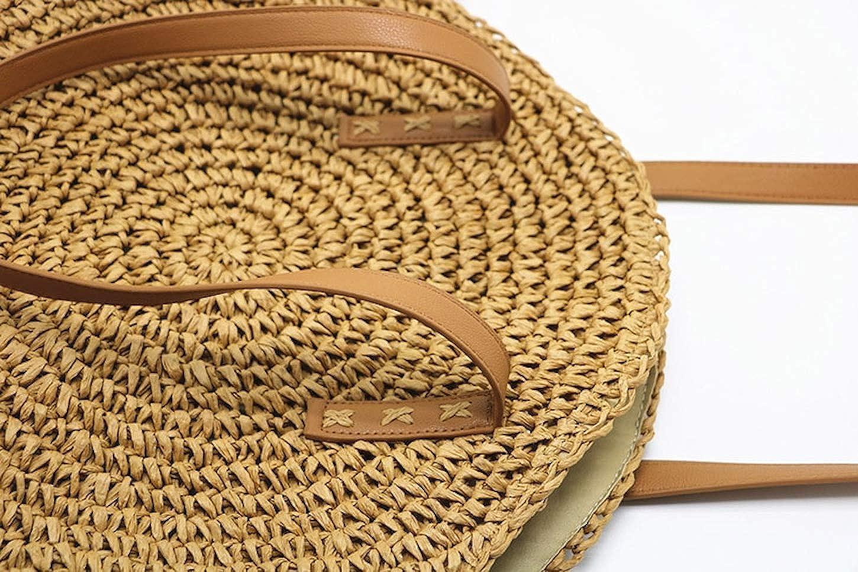 ShopINess Bolso de rafia redondo