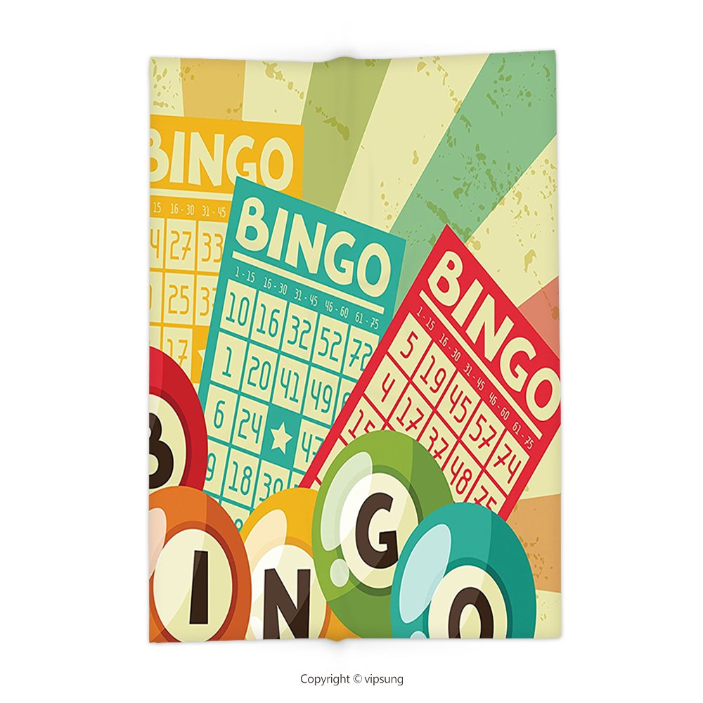 Custom printed Throw Blanket with Vintage Decor Bingo Game with Ball and Cards Pop Art Stylized Lottery Hob Celebration Themees Multi Super soft and Cozy Fleece Blanket by vipsung