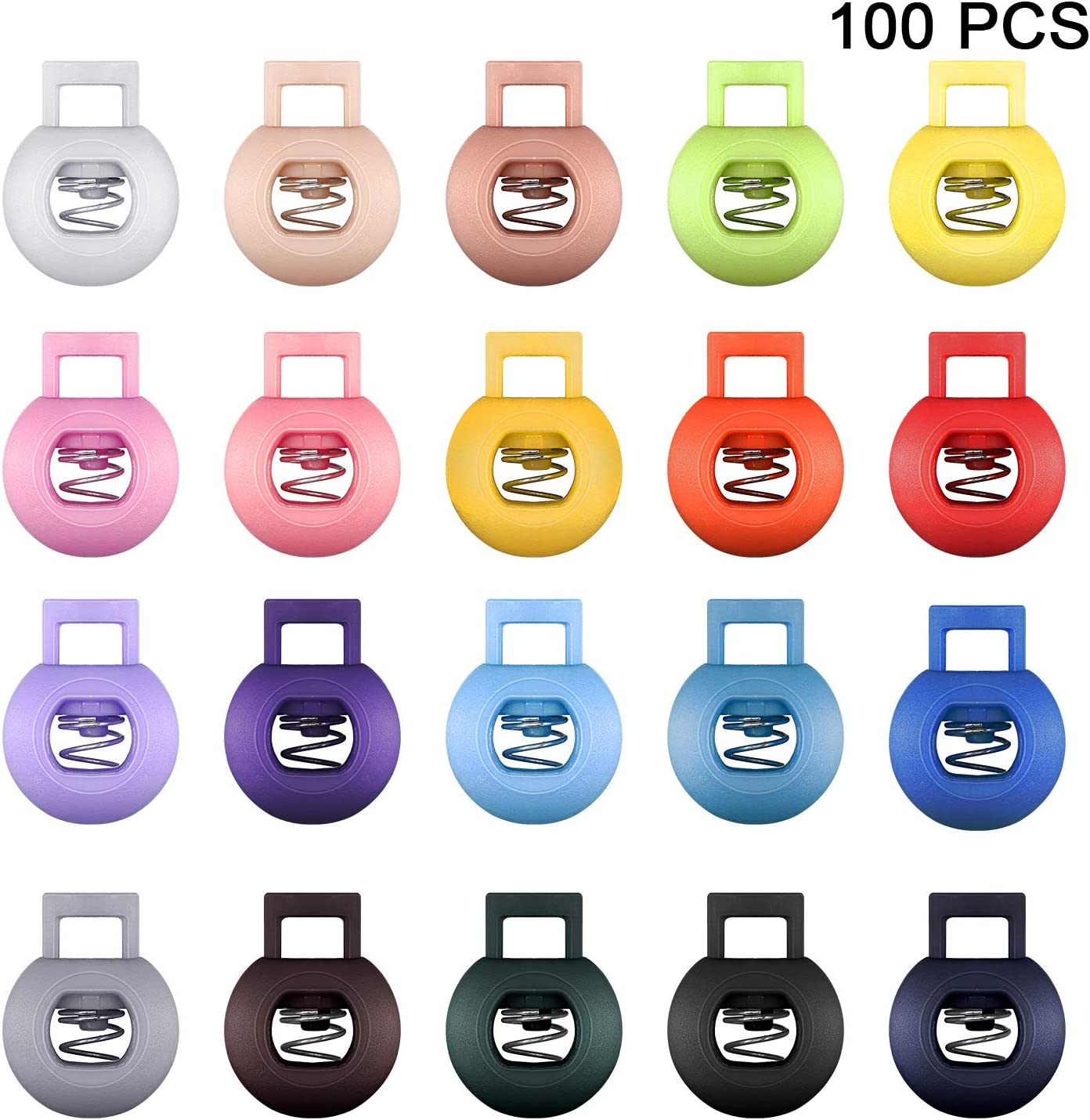 100 Pieces Colors Plastic Cord Locks Round Spring Toggle Stopper Ends Single Hole Sliding Fastener Buttons Elastic Drawstring Rope Cord Locks Backpack Luggage Lanyard Stopper