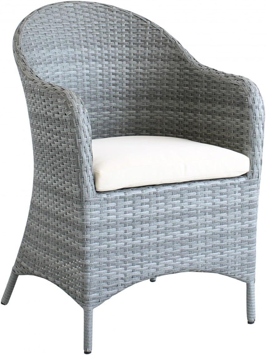 Dreams4Home Dinning Arun – Sillón, butaca, incluye cojín para asiento, Jardín Sillón, silla de jardín, muebles de jardín, silla, B/H/T: 65 x 93 x 65 cm, ratán, alta calidad HDPE trenzado – En