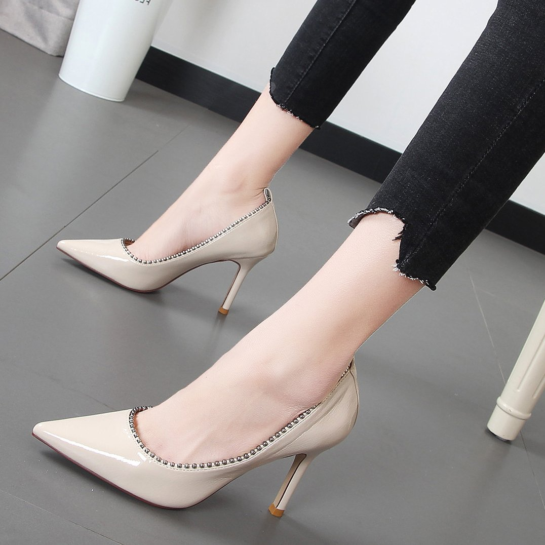 Xue Qiqi Feine mit einfachen Schuhe mit hohen hohen hohen Absätzen im Licht der Schuhe Spitze Wulst einzelne Damen Schuhe Frauen 513188