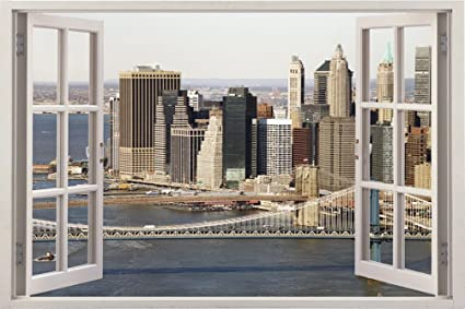 Amazoncom Realistic New York Poster Window Wall Decal Peel and