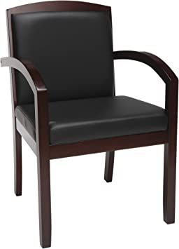 Amazon Com Hon Bsxvl853nsb11 Topflight Wood Guest Softhread Leather Lobby Chair With Arms In Black Mahogany Furniture Decor