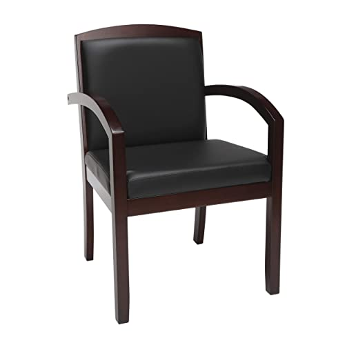HON Topflight Wood Guest Chair – Leather Seated Guest Chair with Arms, Office Furniture, Mahogany Finish VL852