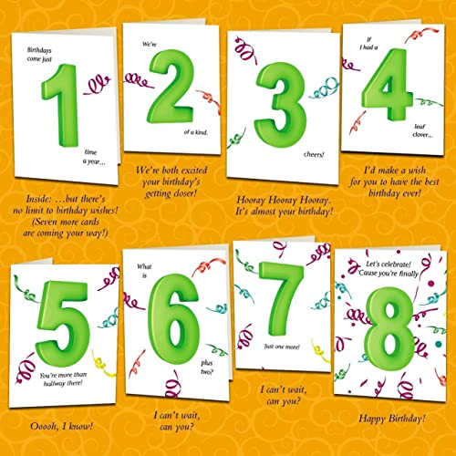 Amazon Set Of Eight Unique Birthday Cards That Count Up To A