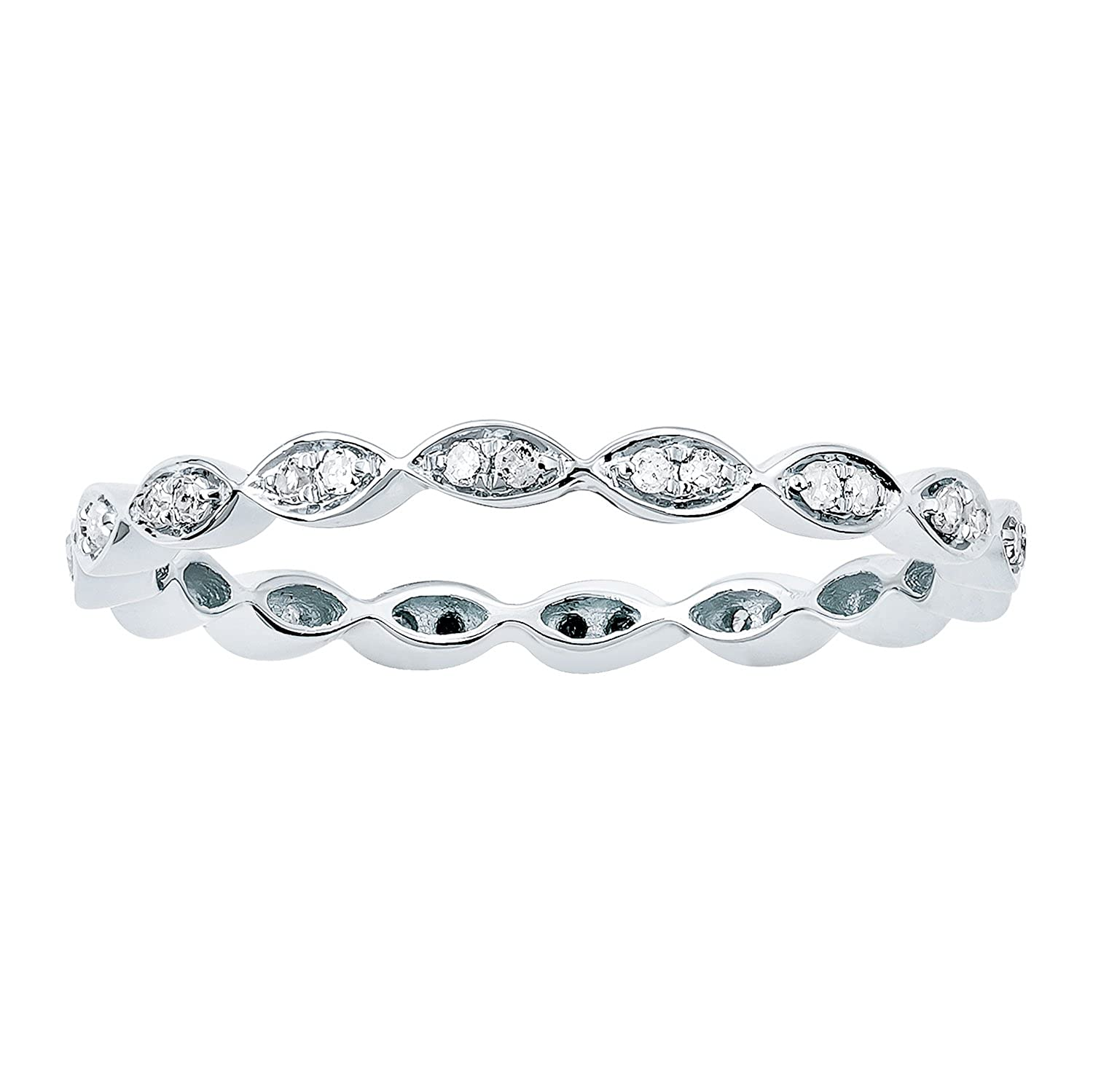10k White Gold Stackable Eternity Diamond Wedding Band (1/4 cttw, I-J Color, I2-I3 Clarity) Instagems RG21388PG-PRT