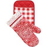 The Pioneer Woman Kitchen Set Pot Holder and Oven Mitt Set Red Bandana, Dandelion, Flea Market (Red Bandana)