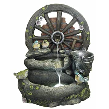 Mill Wheel Garden Fountain W/LED Lights: Outdoor Water Feature For Patios  And Outdoor