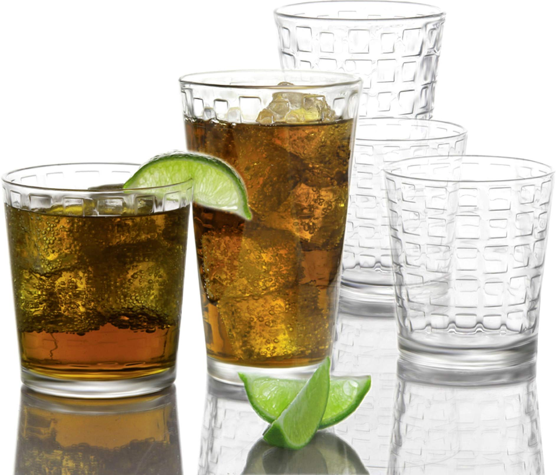 Circleware 40208 Blocks Huge Set of 12, Highball Tumbler Drinking Glasses and Whiskey Cups, Glassware for Water, Beer, Ice Tea Juice Beverage, 12pc