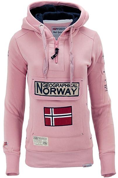Geographical Norway - Sudadera con Capucha - Básico - Manga Larga - para Mujer Rosa Rosa: Amazon.es: Ropa y accesorios