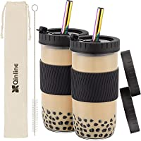 Reusable Boba Cup Bubble Tea Cup 2 Pack, 24Oz Wide Mouth Smoothie Cups with Lid, Silicone Sleeve & Angled Wide Rainbow…