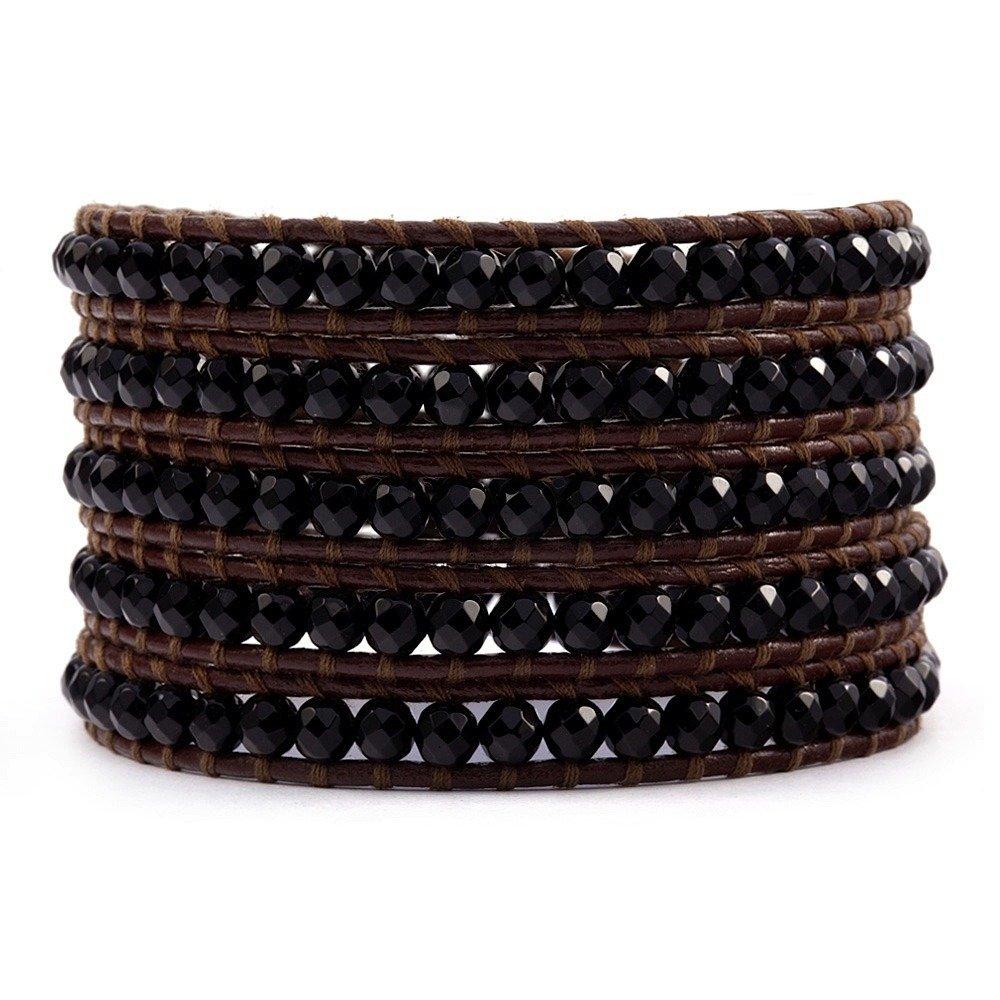Chan Luu Onyx Wrap Bracelet on Brown Leather