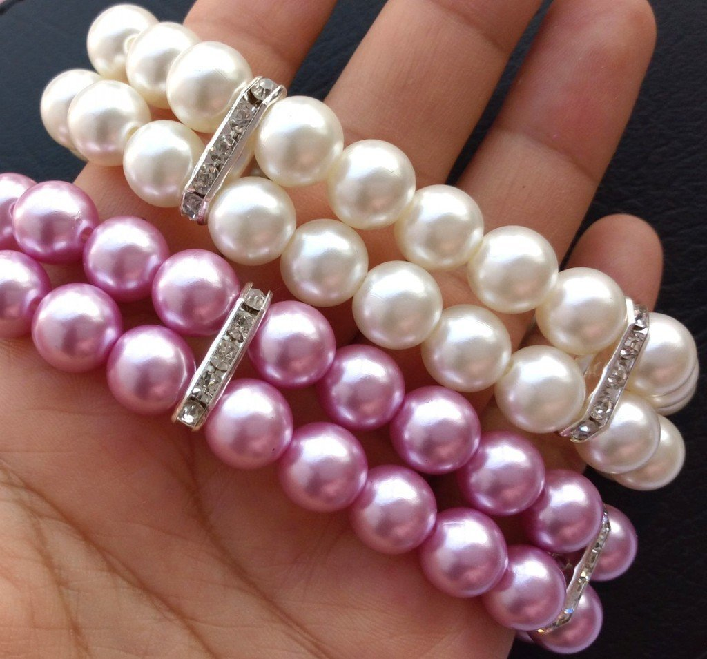 PET SHOW Fashion Two Rows Rhinestone Faux Pearl Elastic Pet Cat Puppy Small Dog Necklace Collar Jewelry Grooming Accessories Lilac Size L Pack of 1