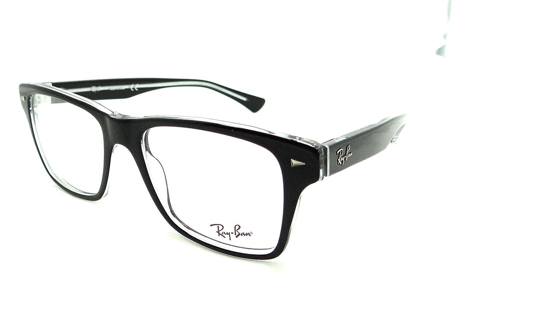 68e23a4470 Amazon.com  Ray-ban Rx Eyeglasses Frames Rb 5308 2034 53x18 Black on  Transparent  Clothing