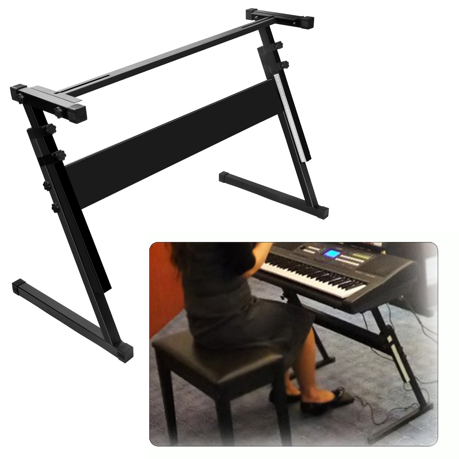 Luvay Keyboard Stand for 61 or 54 keys, Z-Style Folding, Height Adjustable, Heavy Duty (1-inch steel)