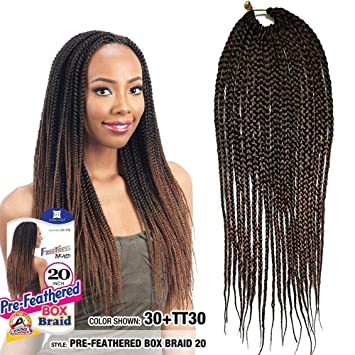 Flyteng 6packs Box Braids Crochet Hair 22 Strands Pack Small Crochet Box Braids Synthetic Hair