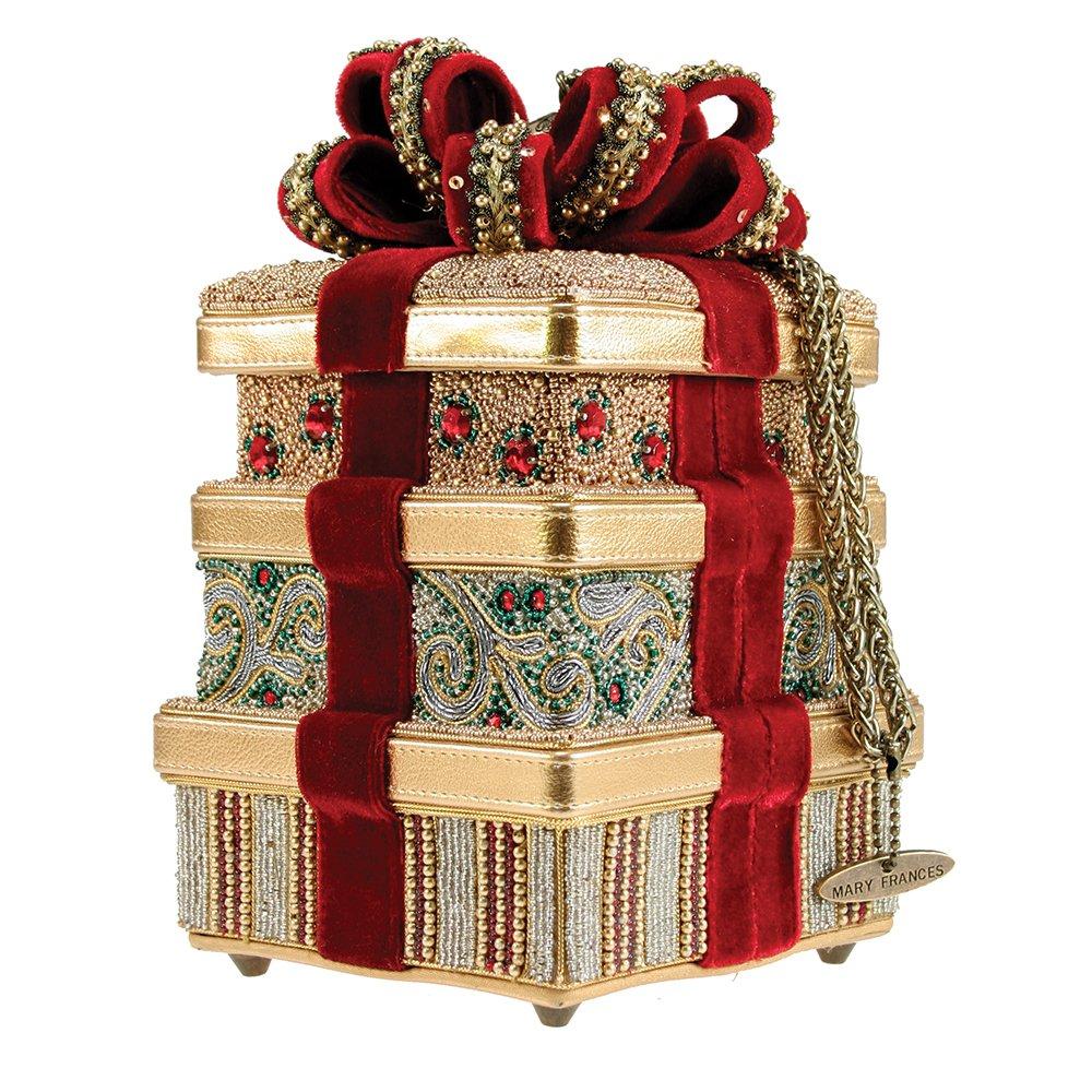 Mary Frances It's a Wrap Beaded Jeweled 3D Ribbon Gold Christmas Present Holiday GIft Purse Handbag