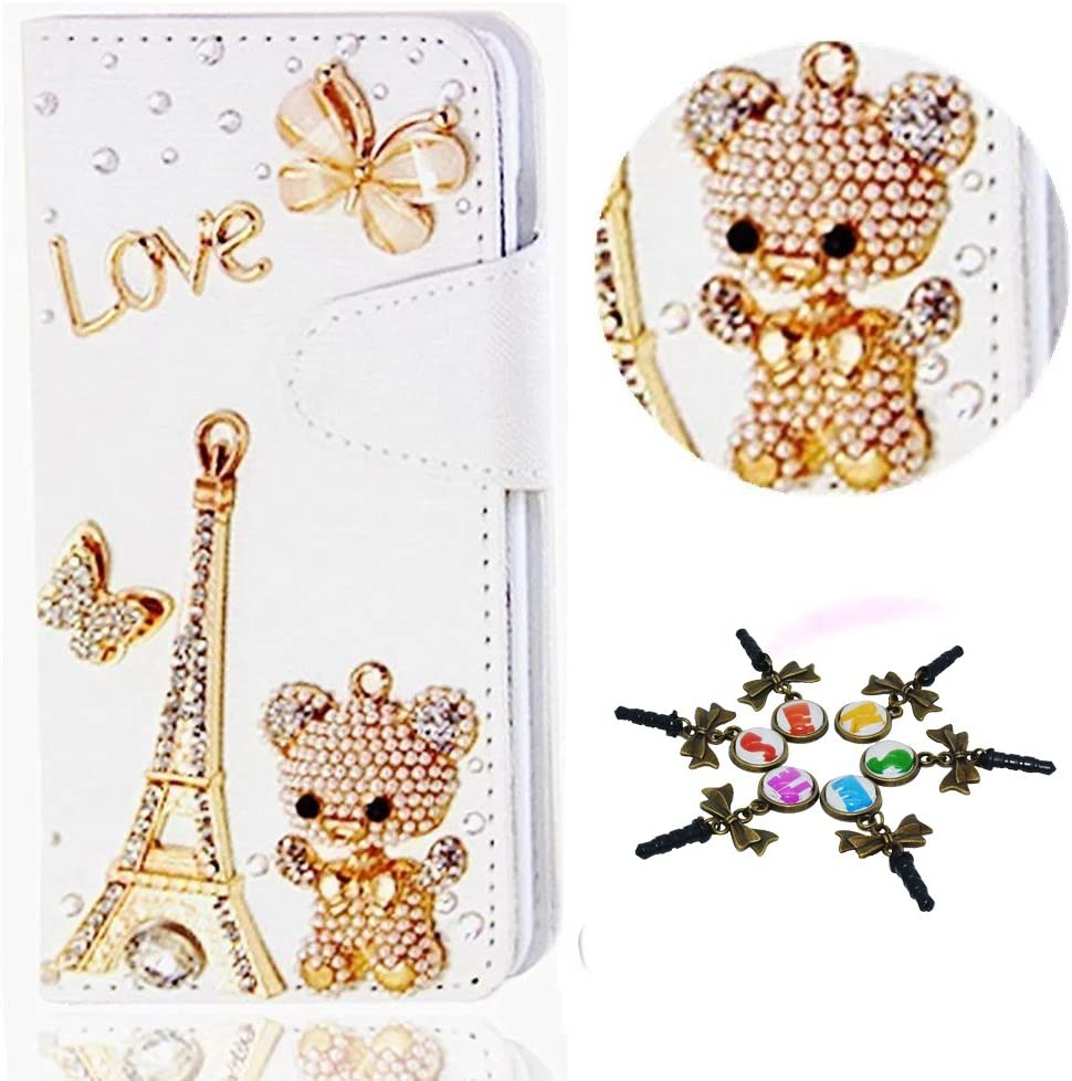 STENES Galaxy J7 V Case - 3D Handmade Eiffel Tower Bear Butterfly Sparkle Wallet Credit Card Slots Fold Media Stand Leather Cover For Samsung Galaxy J7 Prime / J7 Perx / J7 Sky Pro - Gold