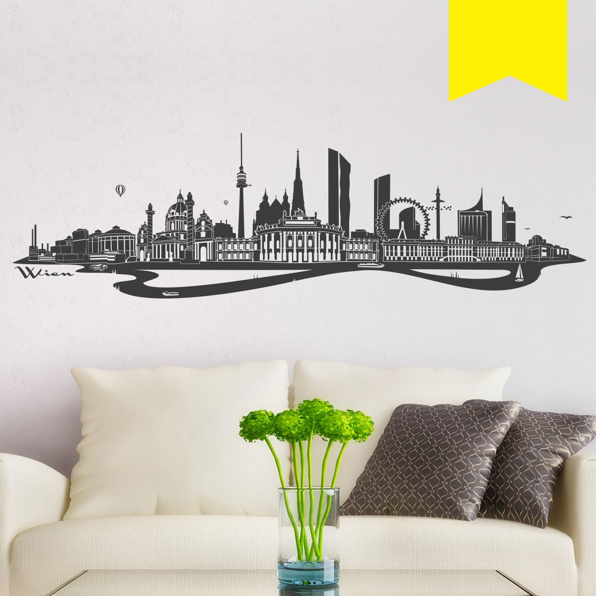 WANDKINGS WANDKINGS WANDKINGS Wandtattoo - Skyline Wien (mit Fluss) - 300 x 86 cm - Mittelgrau - Wähle aus 6 Größen & 35 Farben B078SGJK5C Wandtattoos & Wandbilder b1605f