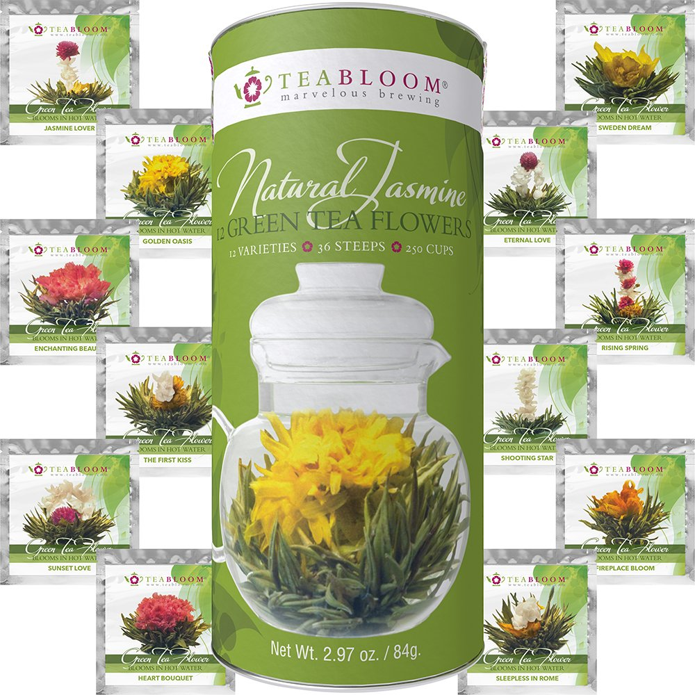 250 Cups Green Tea Flowers with Natural Jasmine Image