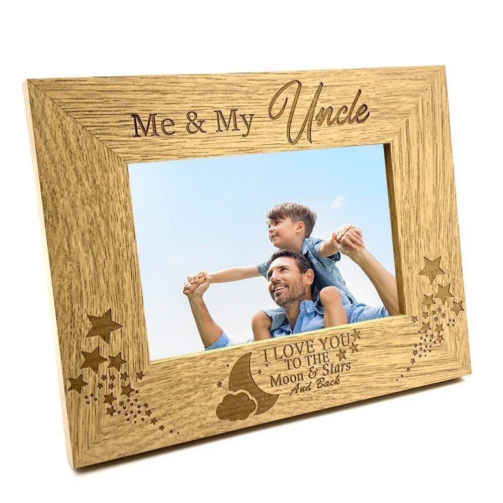 ukgiftstoreonline Me and My Uncle Love You To The Moon Photo Frame Gift (4 x 6 Inch)