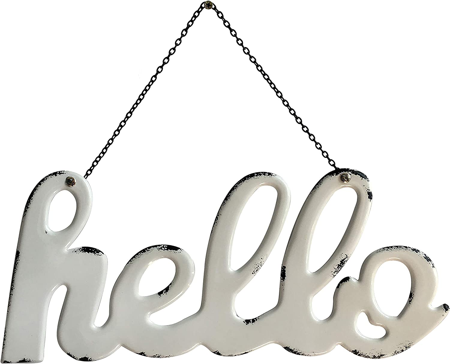 Pridecreation Large Hello Signs Metal Wall Hanging Art, 16x7 inch Rustic Farmhouse Enamel White Home Sign Decor Script, Letters Gift for Front Door Porch Living Room Kitchen Bathroom Wedding Birthday Party (Black & White)