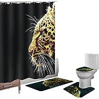 Amagical 16 Piece Bathroom Mat Set Shower Curtain Set Non Slip Bath Mat + Contour Mat + Toilet Cover + Shower Curtain + 12 Hooks