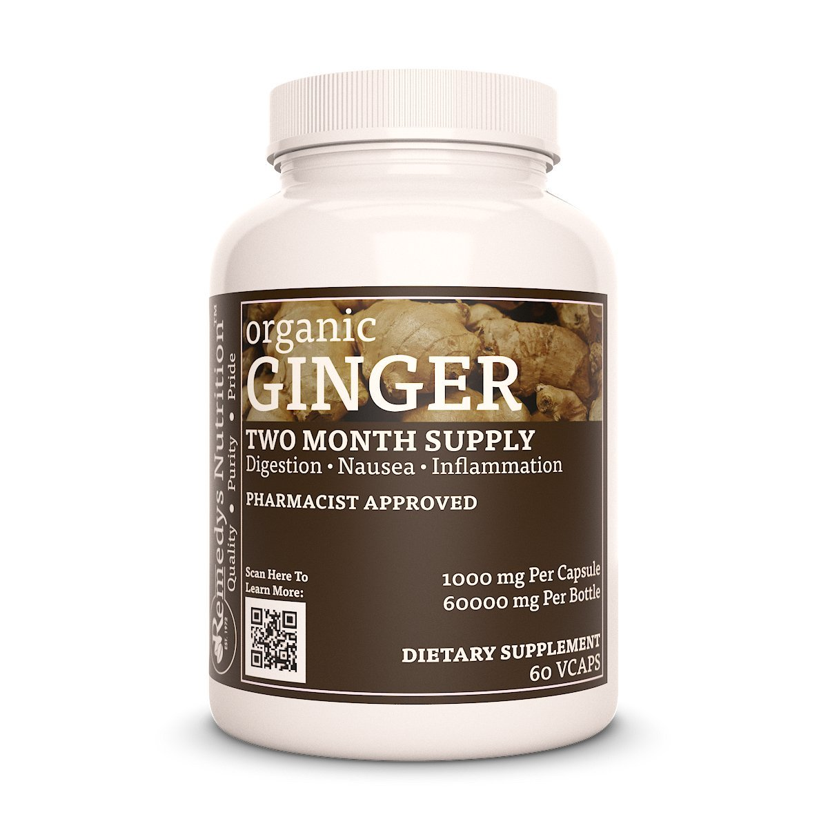 Ginger Root Remedys Nutrition MEGA STRENGTH Organic Vegan 1,000 mg/60,000 mg per bottle Vcaps (Zingiber Oddicinale)