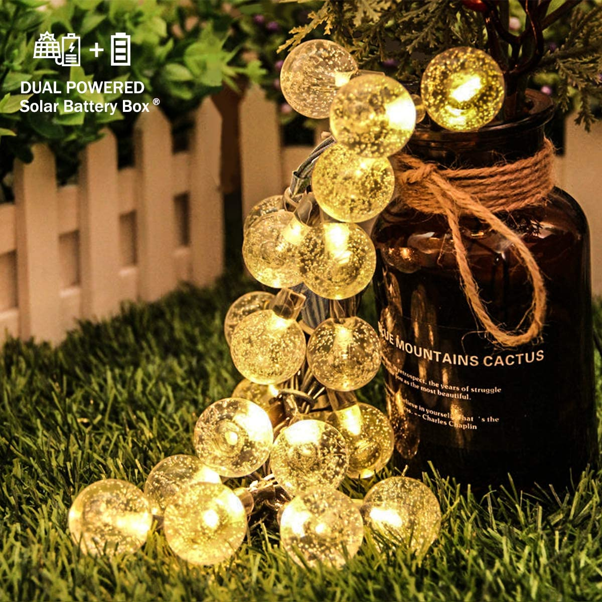 E-POWIND Outdoor Globe String Lights 23ft 50 LED Solar Battery Dual Powered Indoor Crystal Ball String Lights for Christmas Party Kids Girls Bedroom Curtain Camp Garden Patio Tree Yard Decor, Warm