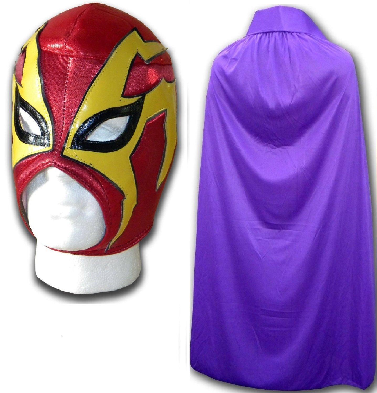 WRESTLING MASKS UK Men's Shocker Fancy Dress Luchador Wrestling Mask With Cape One Size Red/Purple