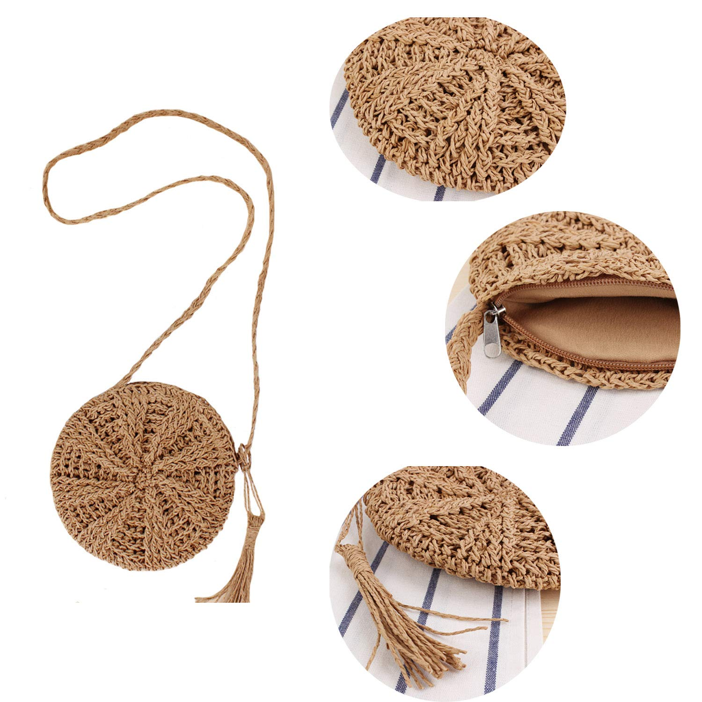 Teeya Straw Crossbody Bag Women Weave Shoulder Bag Round Summer Beach Purse and Handbags, Small Brown, Medium by Teeya (Image #3)