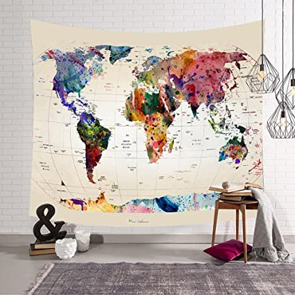Amazon godpass world map tapestry wall hanging mandala bohemian godpass world map tapestry wall hanging mandala bohemian blurry map tapestry wall art fabric home decor gumiabroncs Gallery