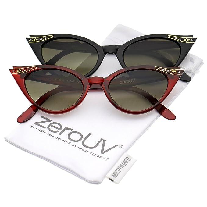 bf6397eb46 Women s Retro Rhinestone Embellished Oval Lens Cat Eye Sunglasses 51mm  (2-Pack