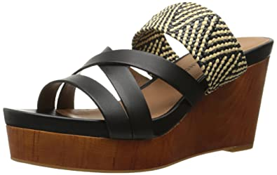 Lucky Women's Nyloh Wedge Sandal, Black/Natural/Black, ...