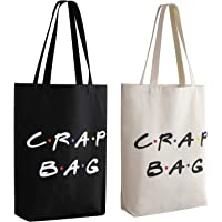 Friends TV Show Crap Bag, 2 Pack Large Canvas Reusable Grocery Tote Bags White and Black Craft Canvas Bag