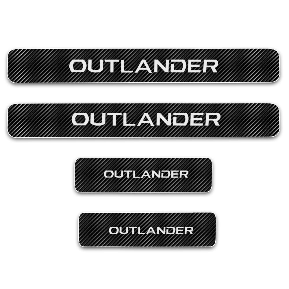 For OUTLANDER 4D M Car Pedal Covers Door Sill Protectors Entry Guard Scuff Plate Trims Anti-Scratch Reflective Carbon Fiber Stickers Auto Accessories Exterior Styling 4Pcs Blue