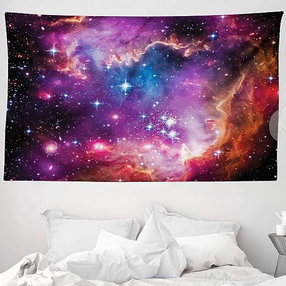 Imagen deABAKUHAUS Galaxia Tapiz de Pared y Cubrecama Suave, Constelación de Magallanes Estrellas Patrón Universo Cosmos Colorido Fantástico, Lavable Colores No Destiñen, 230 x 140 cm, Naranja