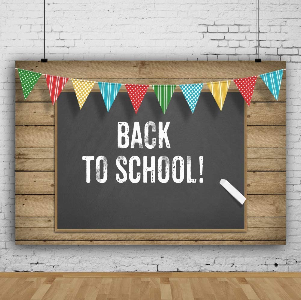 Laeacco 7x5ft Vinyl Back to School Theme Colorful Flags Blackboard White Chalk Wood Stripes Photography Background School Home Party Students Children Adults Decoration Backdrop