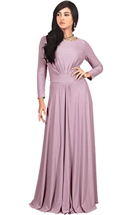 b19d4fa50865 Koh Koh Womens Long Sleeve Flowy Empire Waist Fall Winter Party Gown Maxi  Dress - Pink -  Amazon.co.uk  Clothing