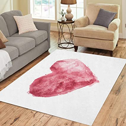 Semtomn Area Rug 3 X 5 Abstract Red Burgundy Watercolor Heart Painting Aquarelle Bordo Computer Home Decor Collection Floor Rugs Carpet For Living Room Bedroom Dining Room Amazon Co Uk Kitchen Home