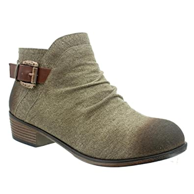Zoey-11 Women's Canvas Side Zipper Rounded Toe Stacked Low Heel Ankle Boot Bootie - Brown