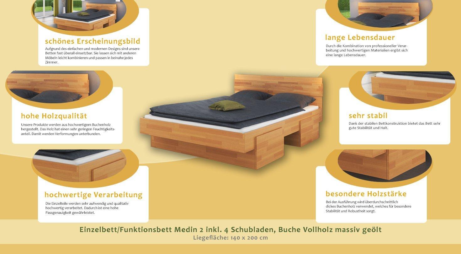 Einzelbett mit schubladen buche  Einzelbett / Funktionsbett Medin 2 inkl. 4 Schubladen, Buche ...