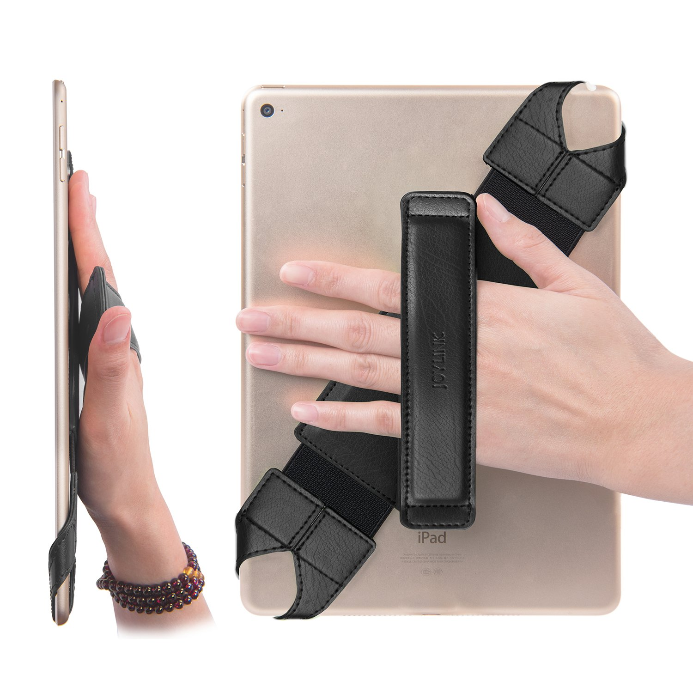 Universal Tablet Hand Strap Holder, Joylink 360 Degrees Swivel Leather Handle Grip with Elastic Belt, Secure & Portable for All 10.1'' Tablets (Samsung Asus Acer Google Lenovo Kindle iPad), Black