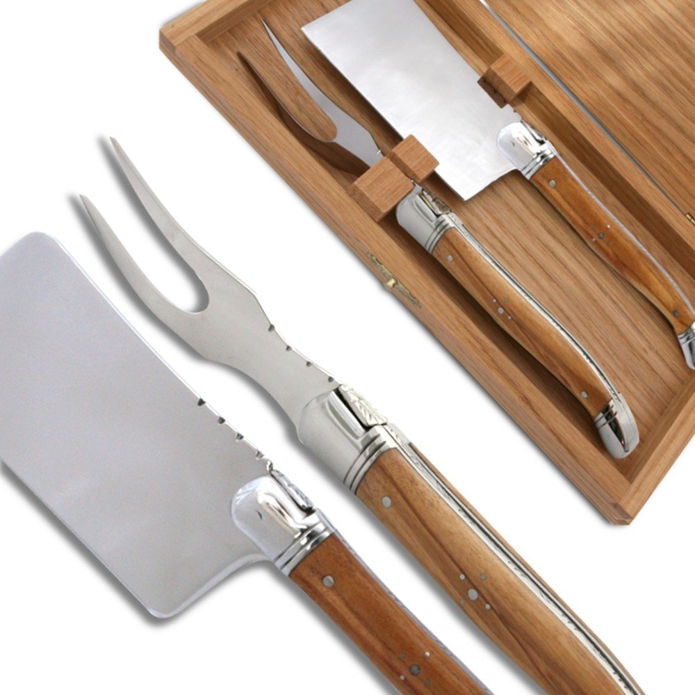 Laguiole Cheese knife set Olive wood Handle direct from France