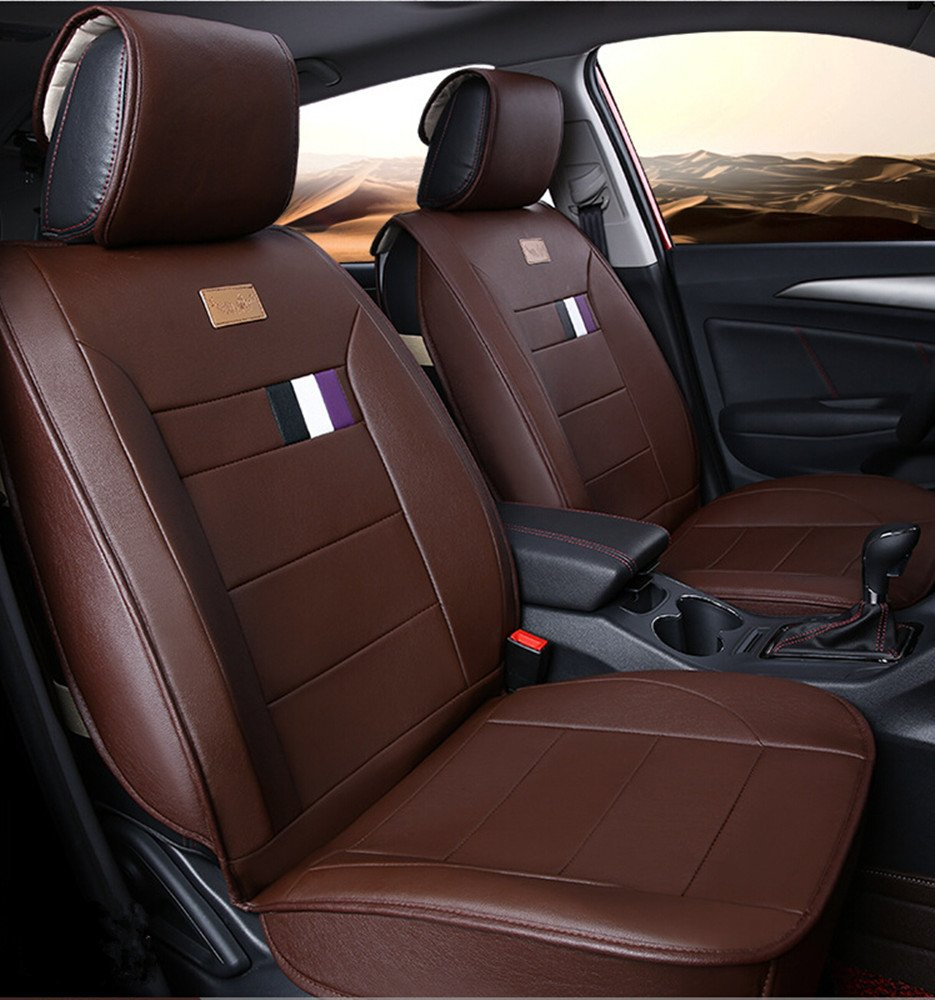Luxurious Airbag Compatible Universal Full Set Easy to Clean PU Leather Car Seat Cushions 5 Seats for Toyota Ford Honda Civic Accord Black Amooca