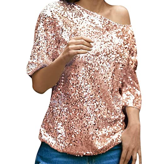 f1cb66a2bf0e9 Mikey Store Womens Casual Tops Sequins Sparkle Half Sleeve Oblique T-Shirt  Blouse (Small