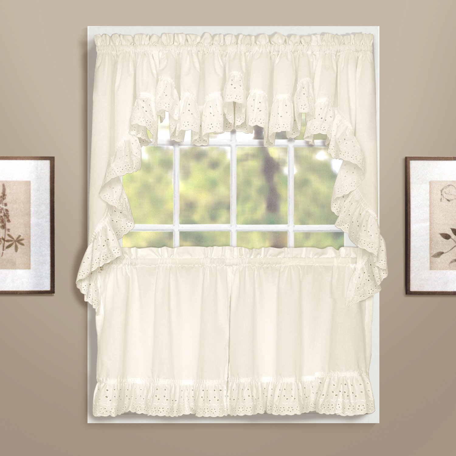 Amazon.com: United Curtain Vienna Lace Double Crescent Valance, 60 ...