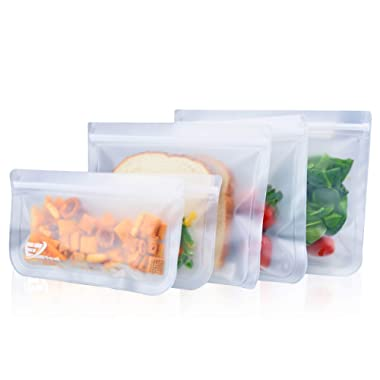 E-Z Seal EXTRA THICK Reusable Storage Bags (5 Pack) ideal for Food snacks, Lunch sandwiches, Make-up, Stationery, Travel Storage, Home organisation and more
