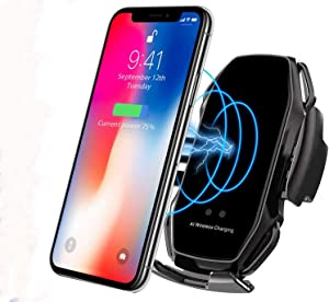 KMI CHOU Phone Holder for Car,Automatic Clamping IR Intelligent Wireless Car Charger Mount - Car Charger Holder 10W Fast Charging for iPhone Xs Max/XR/X/8/8Plus Samsung S10/S9/S8/Note 8-Metal Black