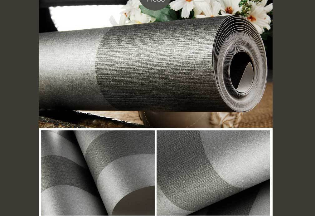 Luxton Metallic Look Charcoal Gray & Black Striped Wallpaper (Unpasted) roll, 20.8 inch x 32.8 Feet, 1 Roll Pack